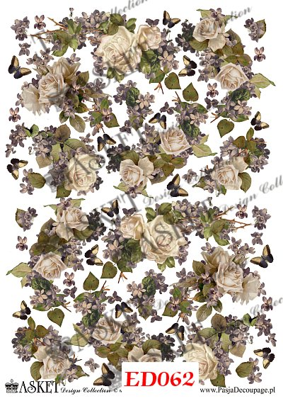 kompozycja kwiatowa róż i fioletowego bzu