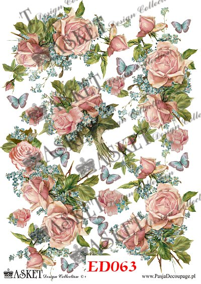 róże z niezapominajkami