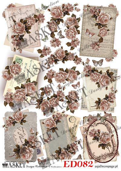 małe motywy z rózami i listami w stonowanych kolorach
