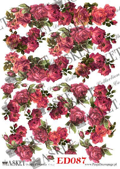Małe motywy róż bordo