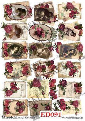Małe motywy dam i listów z różami bordo