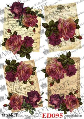stary arkusz papiery z różami