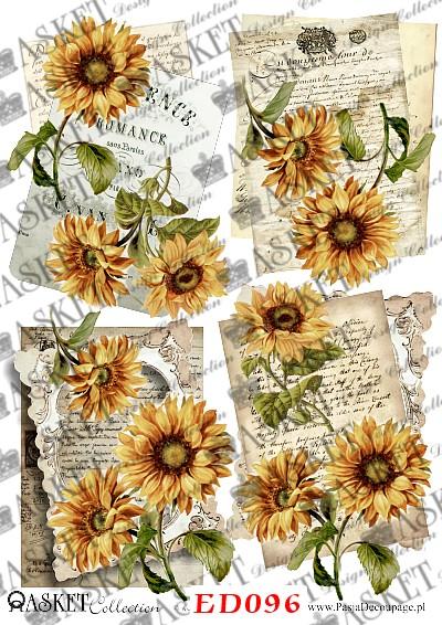motywy ze starego arkuszu z żółtymi słonecznikami