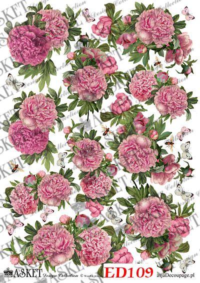 małe motywy peoni w żywym kolorze różu