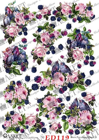 Różowe kwiaty i ptaki