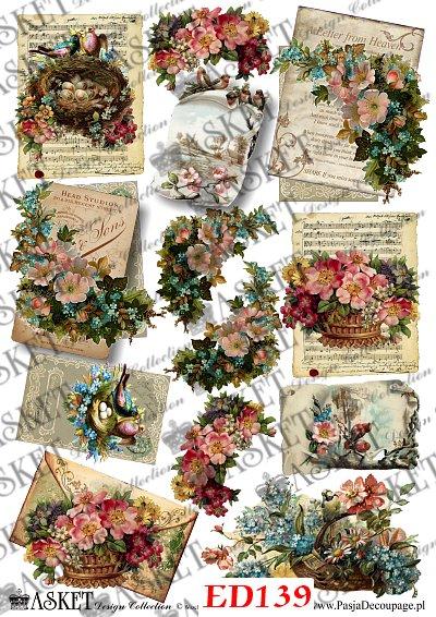 listy z kwiatami i gniazdami ptaków