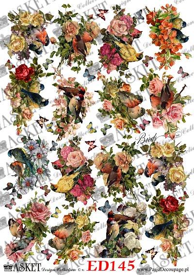 małe elementy kolorowych ptaków i kwiatów