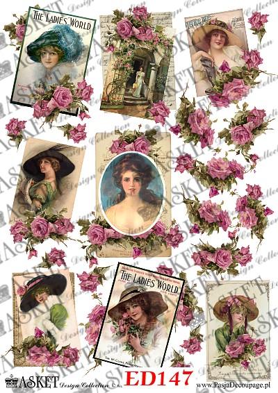 małe motywy dam vintage i roż