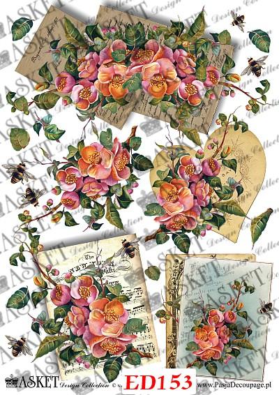 kwiaty w sercu i na arkuszach papieru