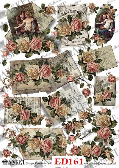 małe motywy róż vintage
