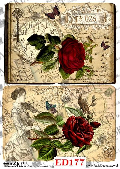 czerwona róża , klucz i zegar