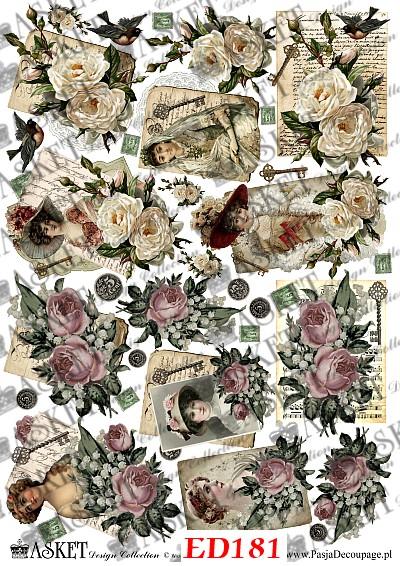 Mix różowych róż i białych z damami retro