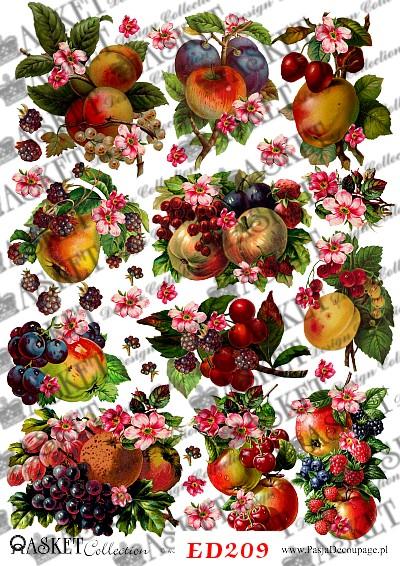 Jabłka, wiśnie i maliny w bukietach owocowych