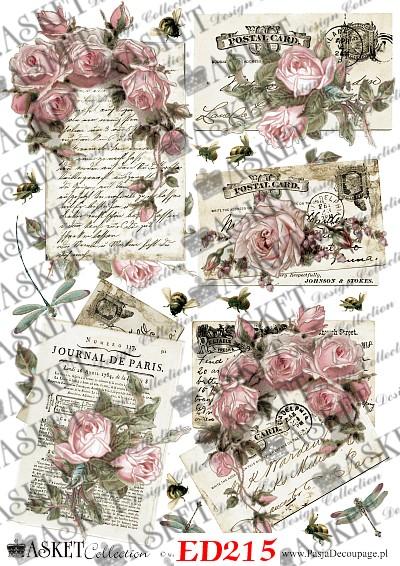 stare arkusze listów z kwiatami