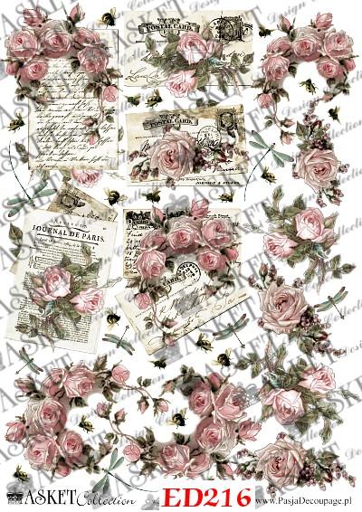 pastelowe kolory z różami i listami