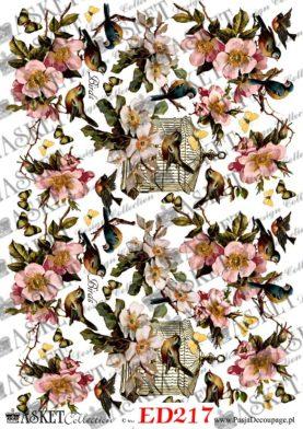 różowe kwiatki z ptakiem w klatce