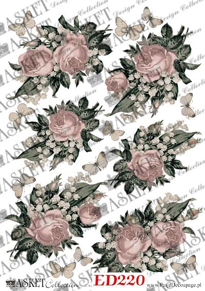 motyw roż w kolorze brudnego różu