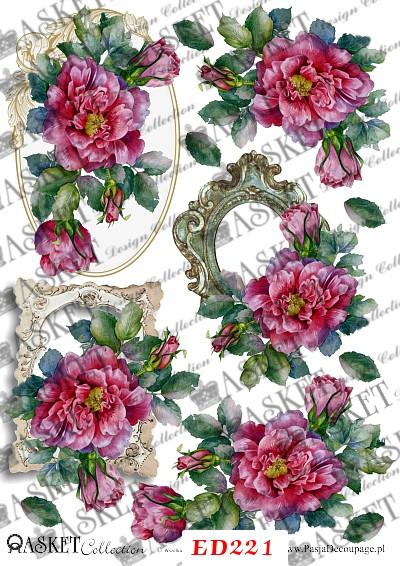 kwiaty z ozdobnymi ramkami vintage