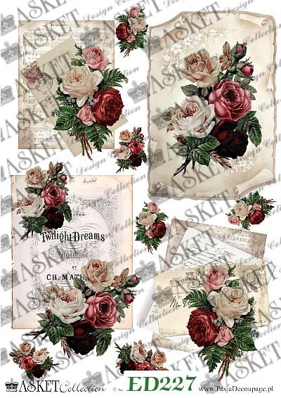 Róże z kolorem bordo udekorowane paprotką