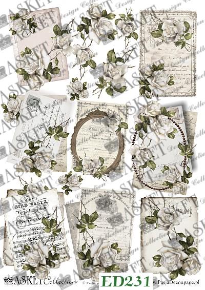listy z białymi różami