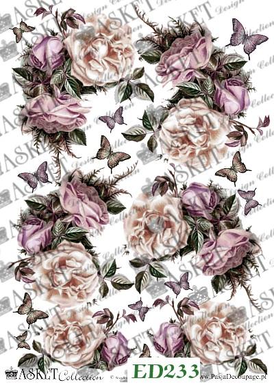 duże mtywy róż z motylami