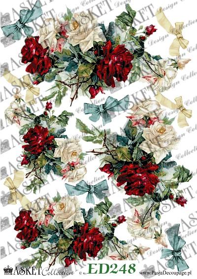 róże czerwono beżowe z błękitnymi kokardami