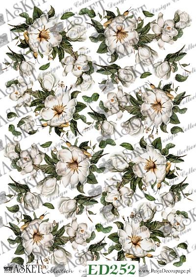 papier decoupage biała magnolia