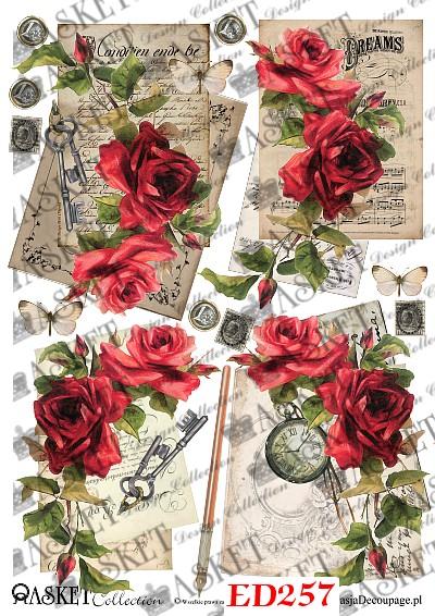 motywy vintage z czerwonymi różami