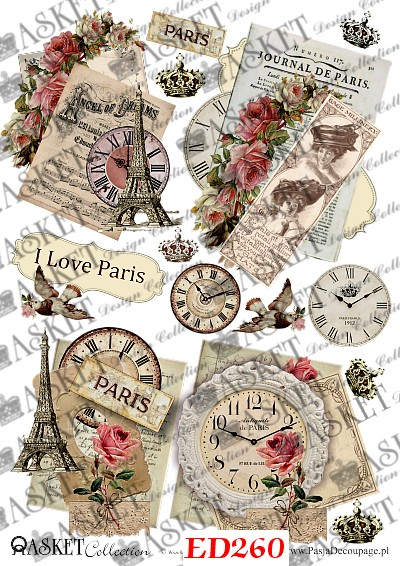 zegary vintage i wieża Eiffla