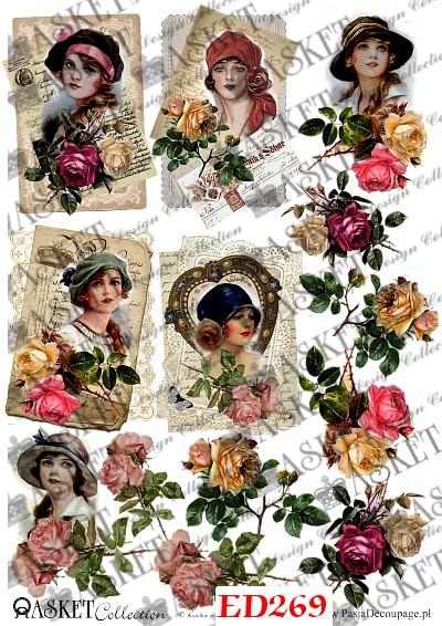 kolorowe róże i Damy retro