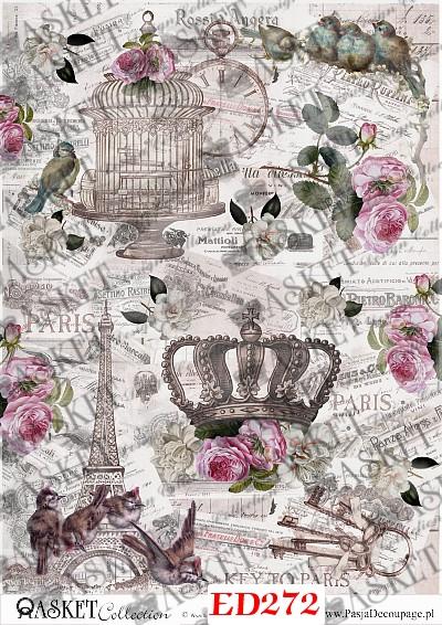 duże motywy korony i klatki z tłem vintage