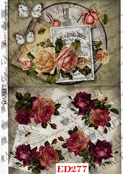 bordowe róże i duży zegar