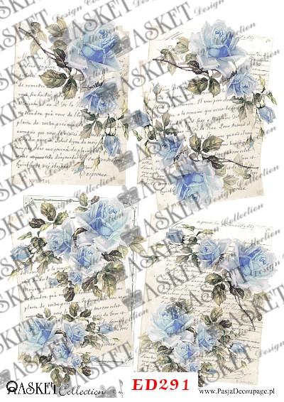 niebieskie kwiaty na listach