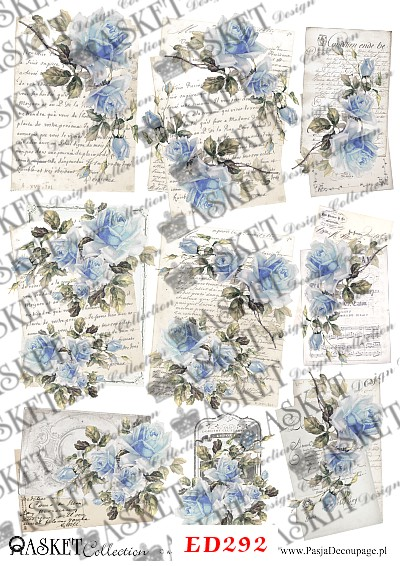 błękitne róże na listach