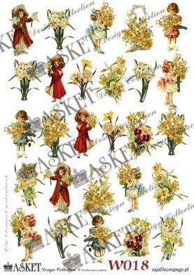 Małe dziewczynki z bukietami żółtych żonkili