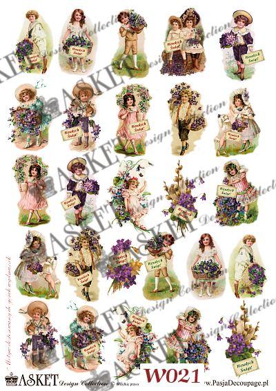 Wesołe postacie dziewczynek z fiołkami