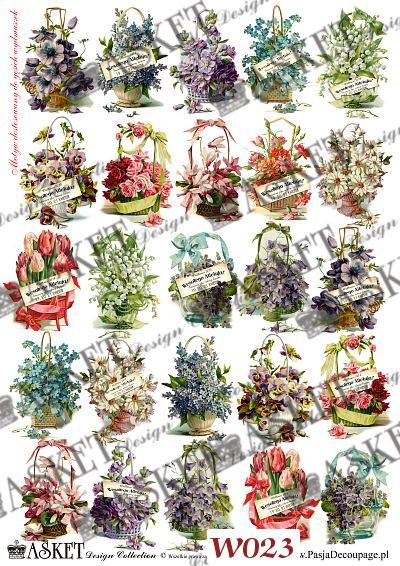 Koszyki z kolorowymi kwiatami