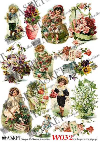 dzieci wiosną z kwiatami