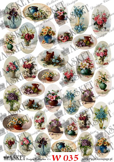 miniatórki w owalach kwiaty w wazonach