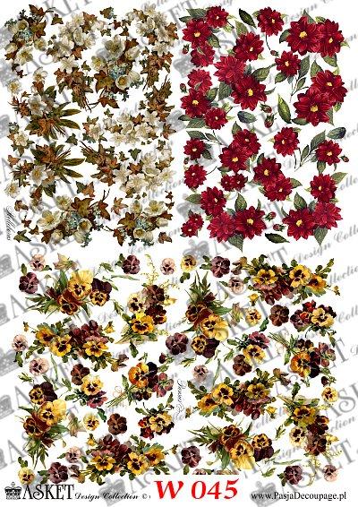 różne motywy kwiatów w małych rozmiatach