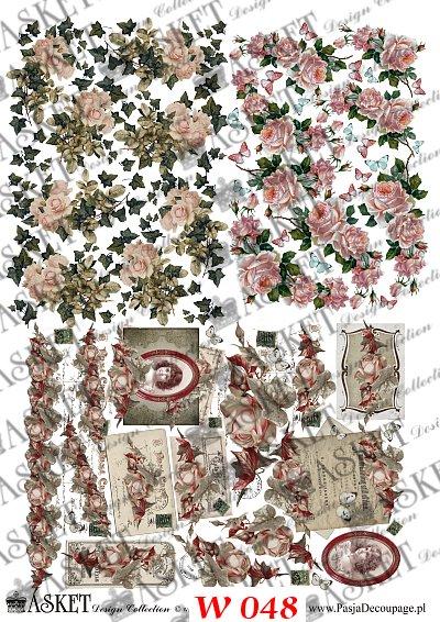male motywy róż z różnych papierów