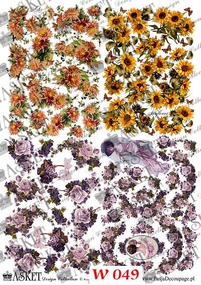 Małe grafiki kwiatówdo dekorowania powierzchni wiosennych lub małych