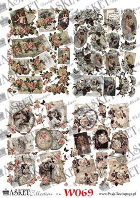 Papiery Vintage z zegarami i damami