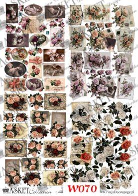 rożne kwiaty i damy