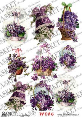 Duże koszyki z fioletowymi kwiatkami