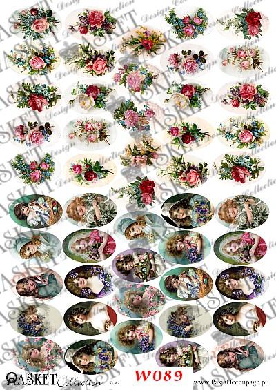 małe grafiki portrecików i róż