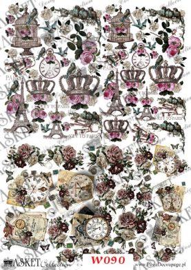 korony i romantyczne zegary z różami