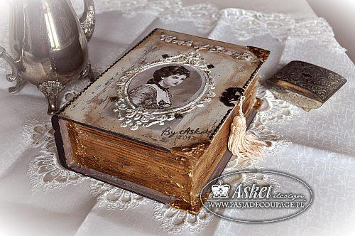 Pudełko Książka Decoupage z Damą