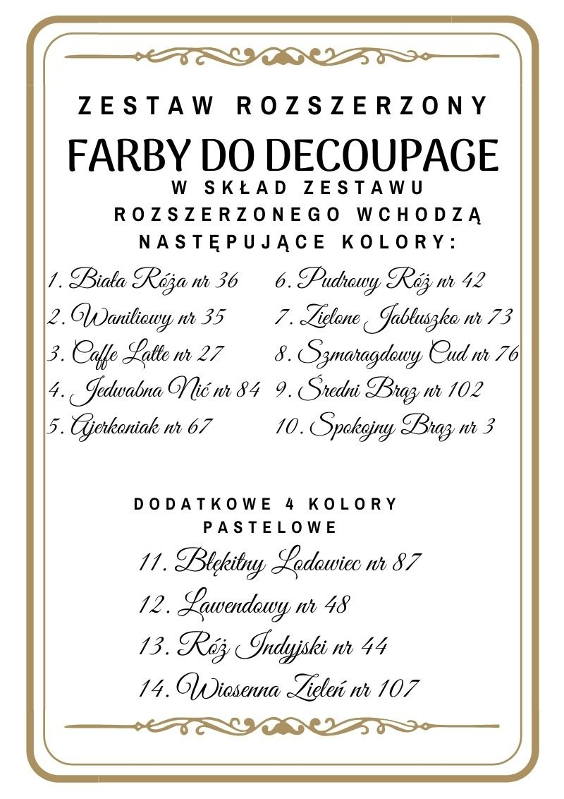 kolory farb do decoupage