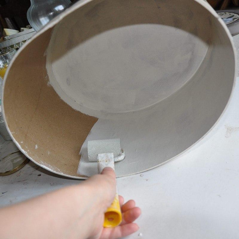 środek dużego pudełka w decoupage